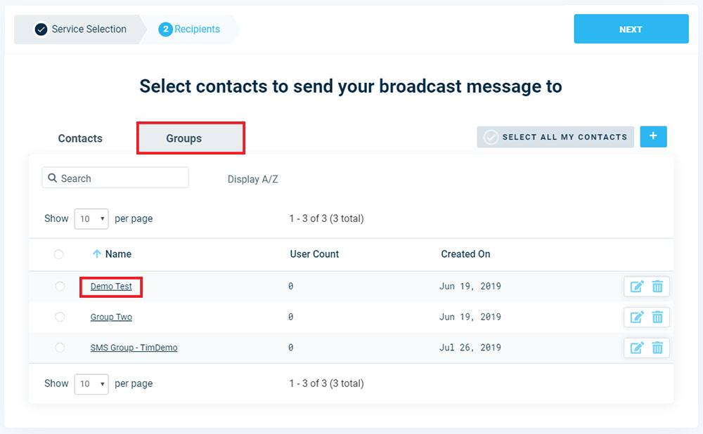 Add Contact Groups To Broadcast - Version 3