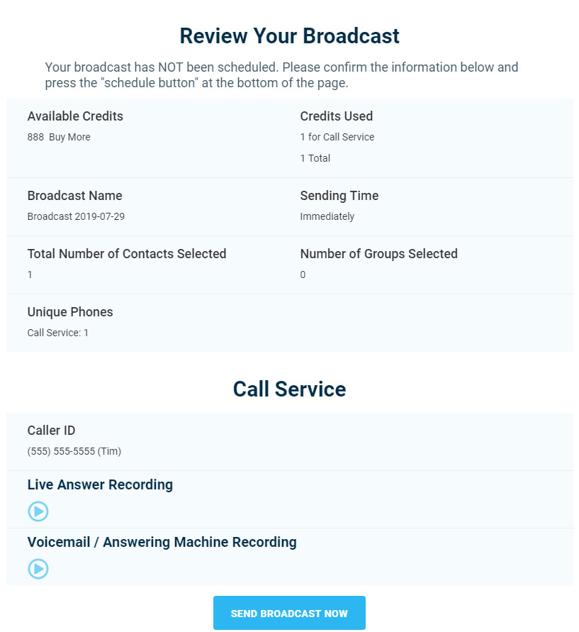 Live Answer Voicemail Messages Confirmation - Version 3