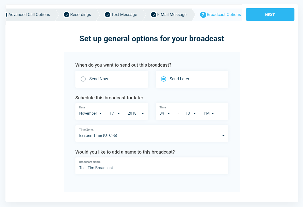 Broadcast Options - DialMyCalls Version 3.0