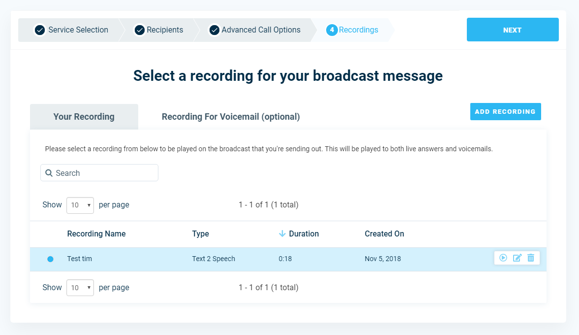 Select Recording - DialMyCalls Version 3.0