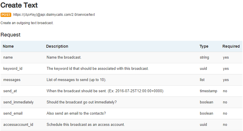 Create SMS Text Message - DialMyCalls API