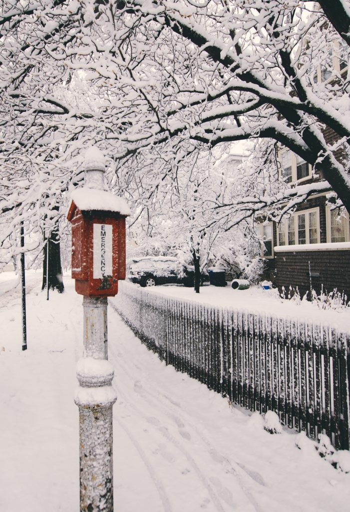 Heavy snowfall during a snowstorm.