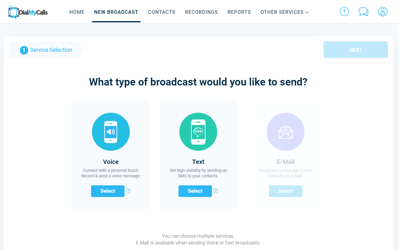 DialMyCalls New Broadcast Options