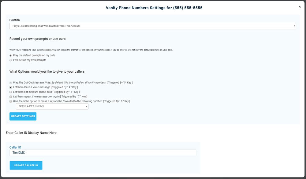 Vanity Phone Number Advanced Options - Version 3