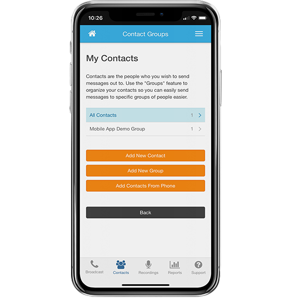 Add Contacts - DialMyCalls Mobile App