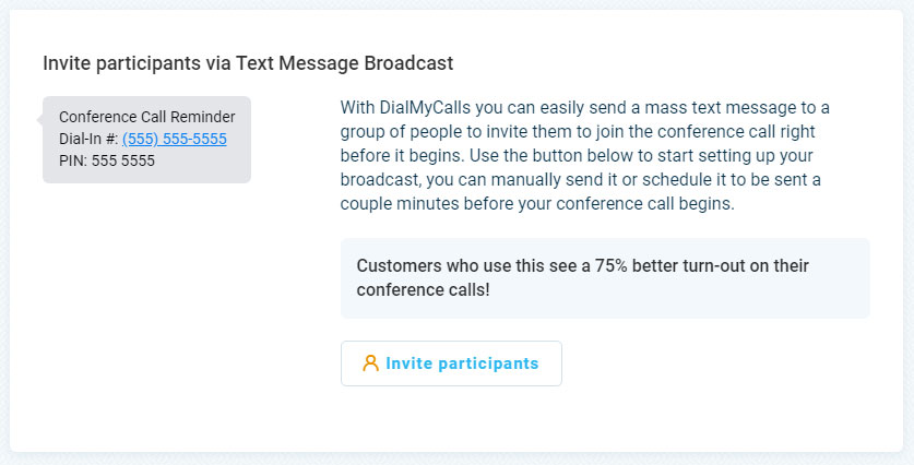 Conference Calls - Text Message Alert