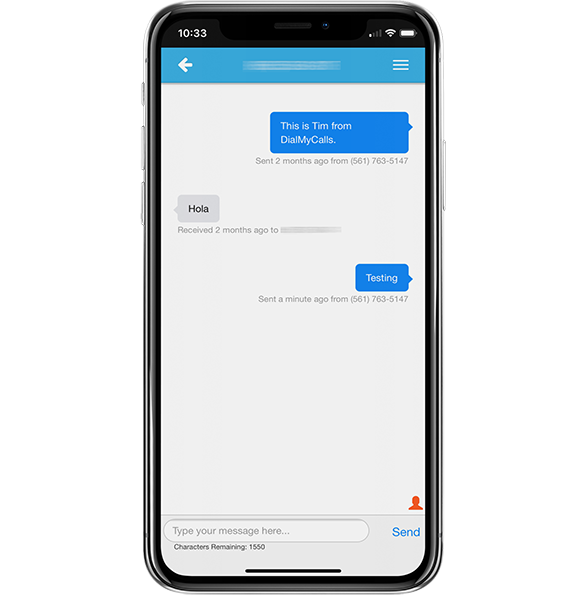 two way texting mobile app dialmycalls