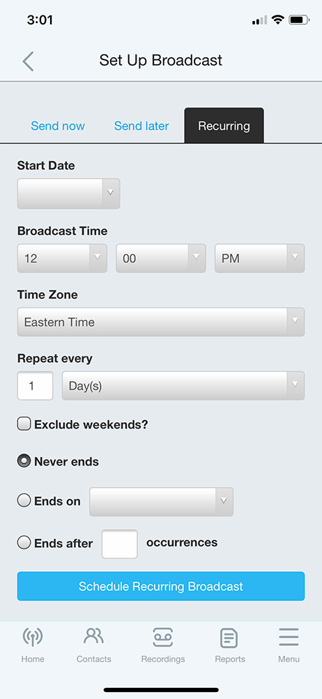 Recurring Broadcasts (Mobile App) - DialMyCalls
