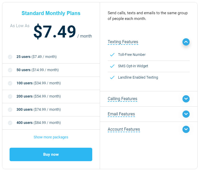 Standard Monthly Plan - DialMyCalls